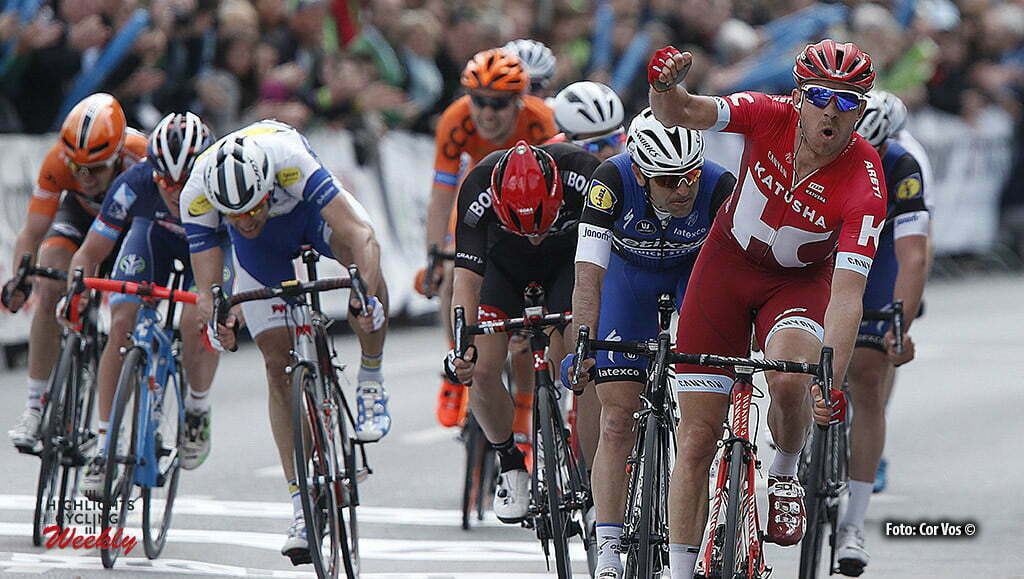Frankfurt - Germany - wielrennen - cycling - radsport - cyclisme - Winner Alexander Kristoff (Norway / Team Katusha) before Maximiliano Ariel Richeze (Argentia / Team Etixx - Quick Step) and Sam Bennett (Ireland / Team Bora - Argon 18) pictured during the Rund um den Finanzplatz Eschborn-Frankfurt - photo HR/Cor Vos © 2016