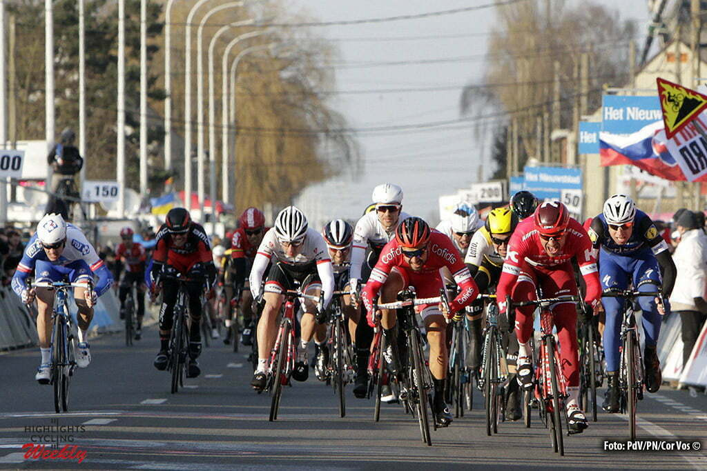 Kuurne - Belgium - wielrennen - cycling - radsport - cyclisme - Kristoff Alexander (Norway / Team Katusha) - Bouhanni Nacer (France / Cofidis) sprint peloton second place pictured during Kuurne - Brussel - Kuurne 2016 - photo PdV/PN/Cor Vos © 2016