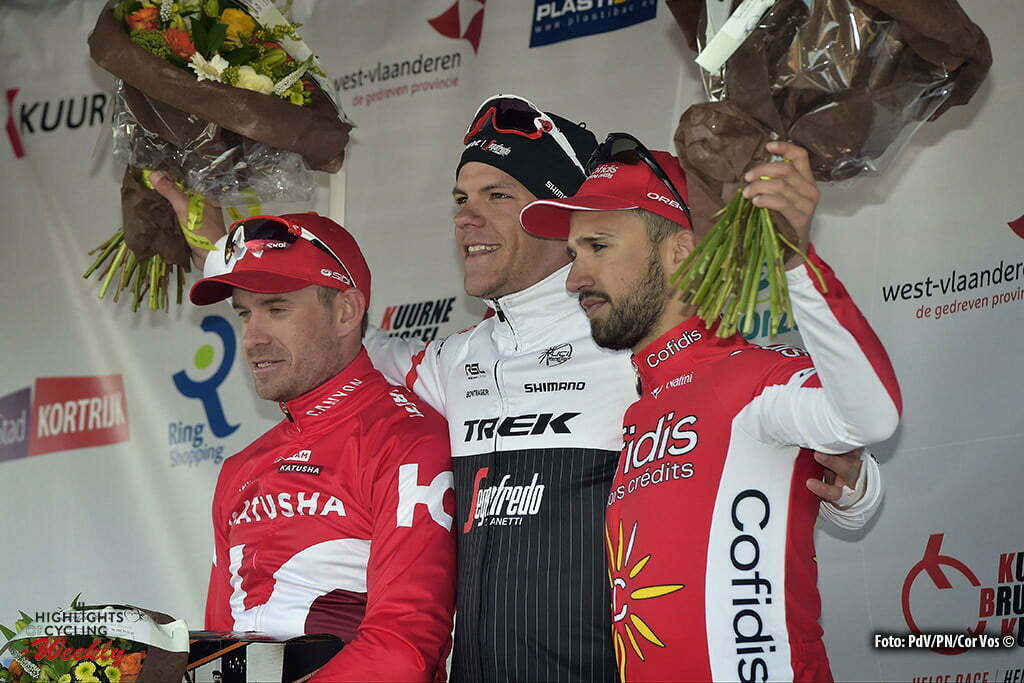 Kuurne - Belgium - wielrennen - cycling - radsport - cyclisme - Alexander Kristoff (Norway / Team Katusha) - Jasper Stuyven (Belgium / Trek Factory Racing) - Bouhanni Nacer (France / Cofidis) pictured during Kuurne - Brussel - Kuurne 2016 - photo PdV/PN/Cor Vos © 2016