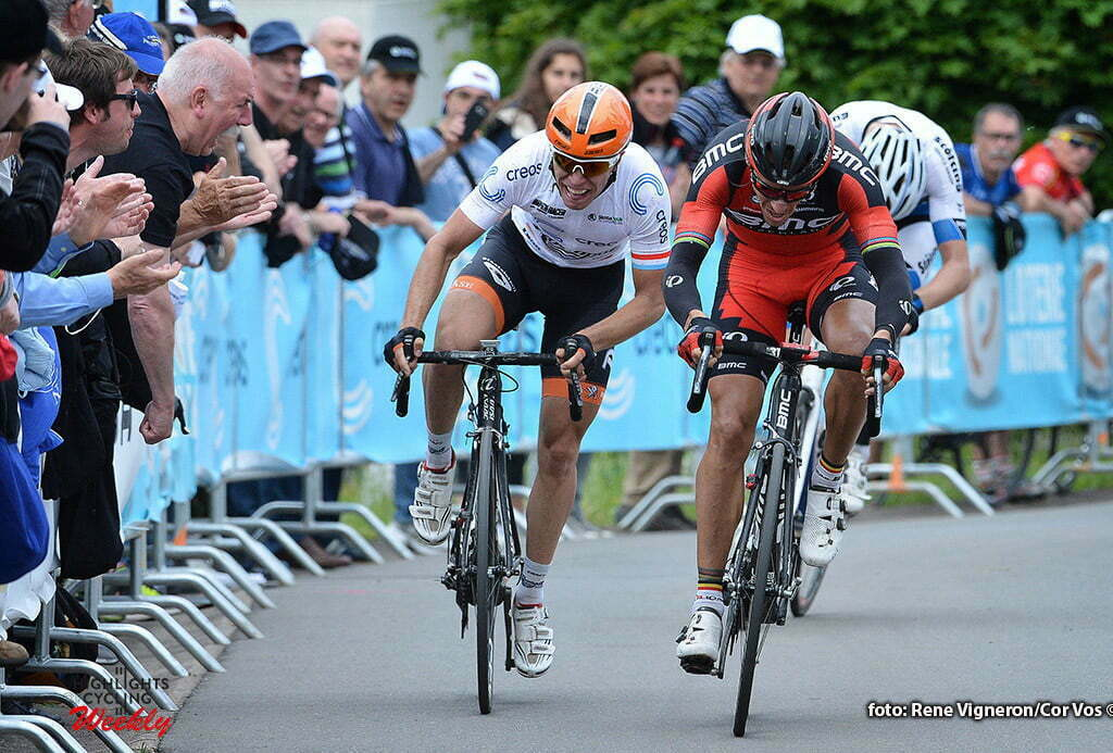 Schifflange - Luxembourg - wielrennen - cycling - radsport - cyclisme - Philippe Gilbert (Belgium / BMC Racing Team) - Maurits Lammertink (Netherlands / Roompot - Oranje Peloton) pictured during stage 2 of the Tour de Luxembourg 2016 - from Rosport to Schifflange (162,8 km) - photo Rene Vigneron/Cor Vos © 2016