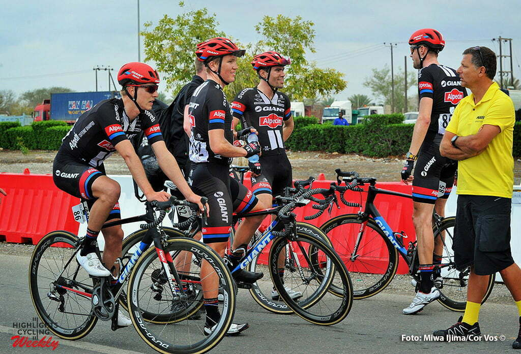 Naseem Park - Oman - wielrennen - cycling - radsport - cyclisme - talking about the bad weather - Zico Waeytens (Belgium / Team Giant - Alpecin) Soren Krach Andersen - Tom Dumoulin (Netherlands / Team Giant - Alpecin) - Tom Stamsnijder (Netherlands / Team Giant - Alpecin) pictured during Tour of Oman stage 3 from Al Sawadi Beach - Naseem Park - photo Cor Vos/Miwa iijima © 2016