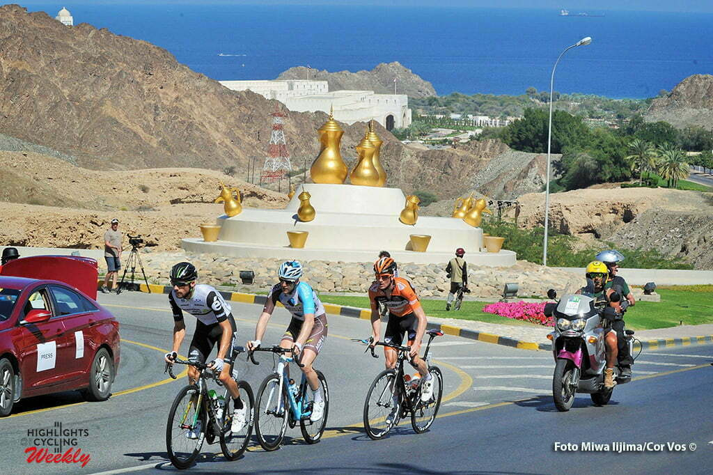 Ministry of Tourism - Oman - wielrennen - cycling - radsport - cyclisme - Jacques Janse Van Rensburg (South-Africa / Team Dimension Data) - Hugo Houle (Canada / Team AG2R La Mondiale) - Pieter Weening (Netherlands / Roompot - Oranje Peloton) pictured during Tour of Oman stage 5 from Yiti (Al Sifah) to Ministry of Tourism - photo Cor Vos/Miwa iijima © 2016
