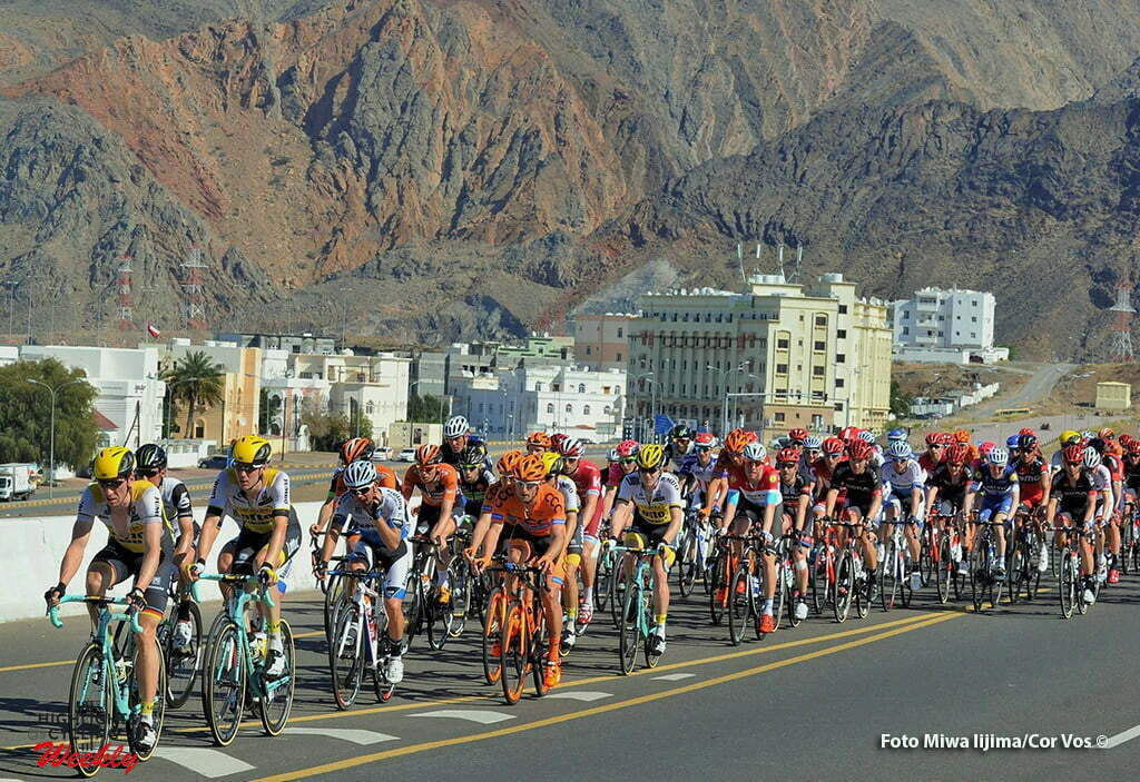 Ministry of Tourism - Oman - wielrennen - cycling - radsport - cyclisme - llustration - sfeer - illustratie peloton LottoNL - Jumbo pictured during Tour of Oman stage 5 from Yiti (Al Sifah) to Ministry of Tourism - photo Cor Vos/Miwa iijima © 2016
