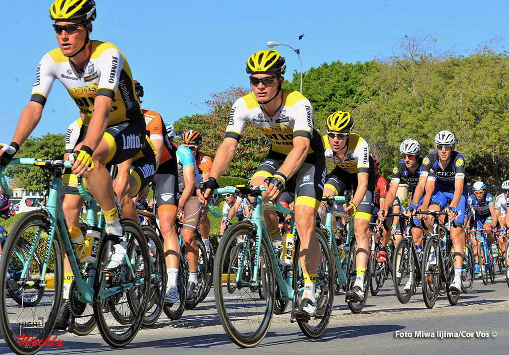 Matrah Corniche - Oman - wielrennen - cycling - radsport - cyclisme - Mike Teunissen (Netherlands / Team LottoNL - Jumbo) - Moreno Hofland (Netherlands / Team Lotto Nl - Jumbo) - Timo Roosen (Netherlands / Team LottoNL - Jumbo) pictured during Tour of Oman stage 6 from The Wave Muscat to Matrah Corniche - photo Cor Vos/Miwa Iijima © 2016