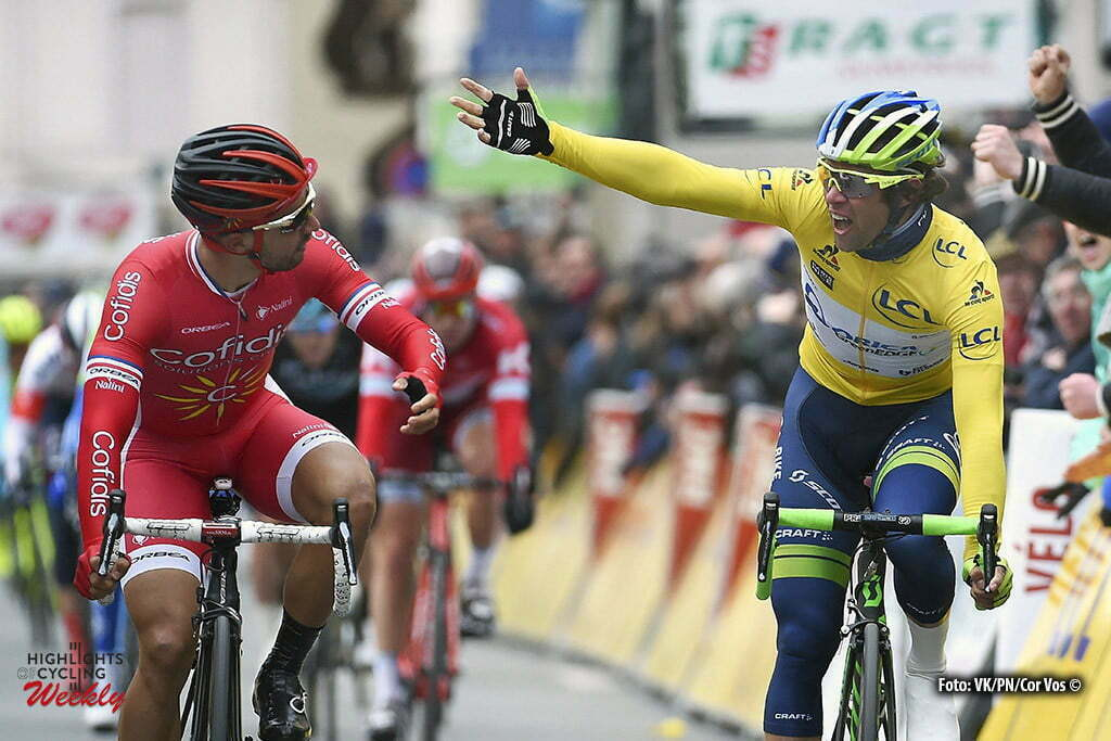 Commentry - France - wielrennen - cycling - radsport - cyclisme - Disqualified Nacer Bouhanni (France / Cofidis) and Michael Matthews (Australia / Team Orica Greenedge) pictured during stage 2 of the 74th Paris - Nice cycling race, a stage of 213,5 kms with start in Contres and finish in Commentry, France - photo VK/PN/Cor Vos © 2016