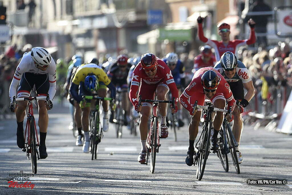 Romans-sur-Isere - France - wielrennen - cycling - radsport - cyclisme - Alexander Kristoff (Norway / Team Katusha) Nacer Bouhanni (France / Cofidis) - Andre Greipel (Germany / Team Lotto Soudal) pictured during stage 5 from Julienas to Romans-sur-Isere of the 74th Paris - Nice cycling race. - photo VK/PN/Cor Vos © 2016