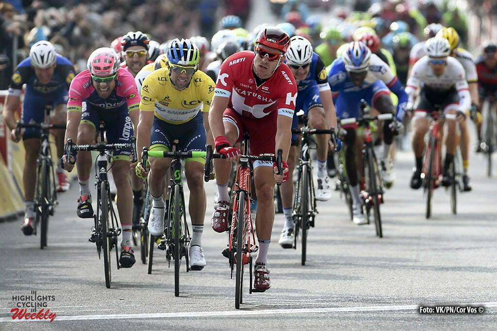 Salon-de-Provence - France - wielrennen - cycling - radsport - cyclisme - Alexander Kristoff (Norway / Team Katusha) - Michael Matthews (Australia / Team Orica Greenedge) during the stage 5 of the 74th Paris - Nice cycling race, a stage of 198 kms with start in Saint-Paul-Trois-Chateaux and finish in Salon-de-Provence, France - photo VK/PN/Cor Vos © 2016