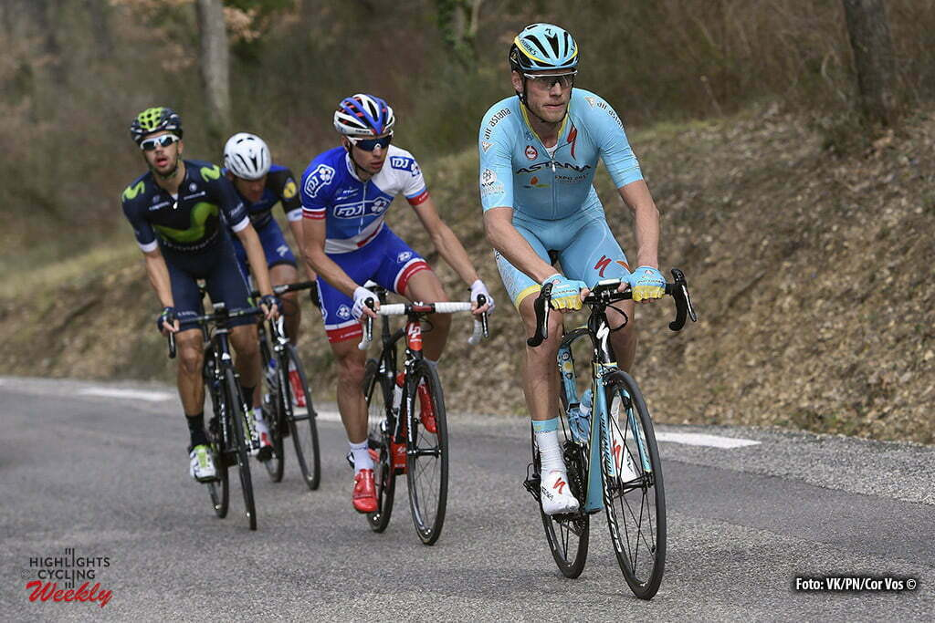 Salon-de-Provence - France - wielrennen - cycling - radsport - cyclisme - Boom Lars (Netherlands / Team Astana) - Herrada Lopez Jesus (Spain / Team Movistar) - Courteille Arnaud (France / Team FDJ) - Vandenbergh Stijn (Belgium / Team Etixx - Quick Step) during the stage 5 of the 74th Paris - Nice cycling race, a stage of 198 kms with start in Saint-Paul-Trois-Chateaux and finish in Salon-de-Provence, France - photo VK/PN/Cor Vos © 2016