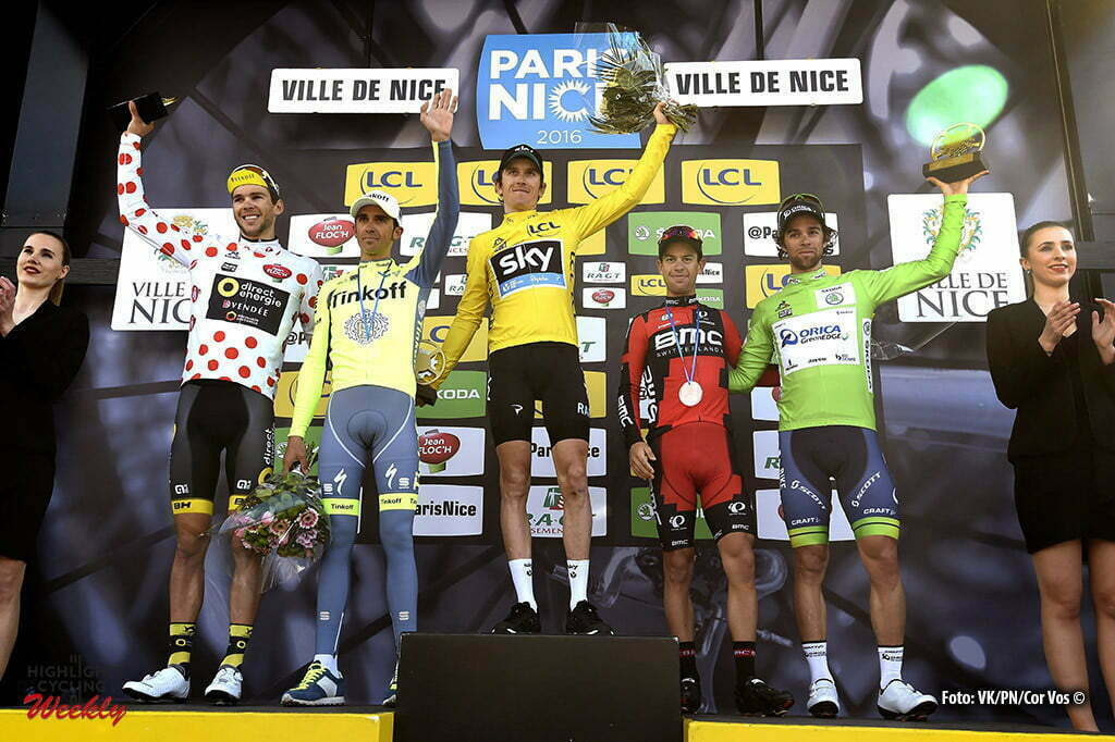Nice - France - wielrennen - cycling - radsport - cyclisme - Duchesne Antoine (Direct Energie) - Contador Velasco Alberto (Team Tinkoff - Tinkov) - Thomas Geraint (Team Sky) - Porte Richie (BMC Racing Team) - Matthews Michael (Team Orica Greenedge) pictured during the stage 7 of the 74th Paris - Nice cycling race, a stage of 134 kms with start in Nice and finish in Nice, France - photo VK?PN/Cor Vos © 2016