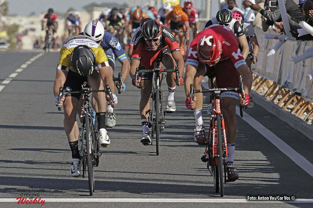 Qatar University - Qatar - wielrennen - cycling - radsport - cyclisme - Kristoff Alexander (Norway / Team Katusha) - Cavendish Mark (GBR / Team Dimension Data) Jans Roy (Belgium / Wanty - Groupe Gobert) - Greg Van Avermaet (Belgium / BMC Racing Team) pictured during Tour of Qatar Elite - Stage 2 from Qatar University to Qatar University - photo Anton Vos/Cor Vos © 2016