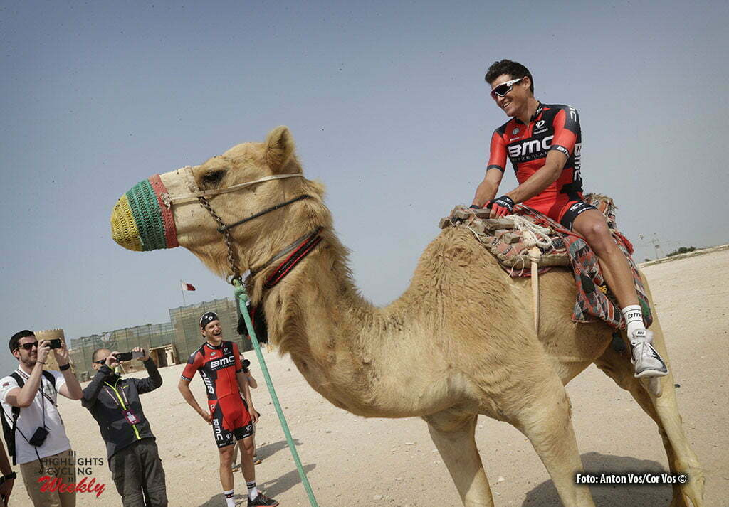 Madinat Al Shamal - Qatar - wielrennen - cycling - radsport - cyclisme - Van Avermaet Greg (Belgium / BMC Racing Team) with camel pictured during Tour of Qatar Elite - Stage 4 from Al Zubarah to Madinat Al Shamal - photo Anton Vos/Cor Vos © 2016