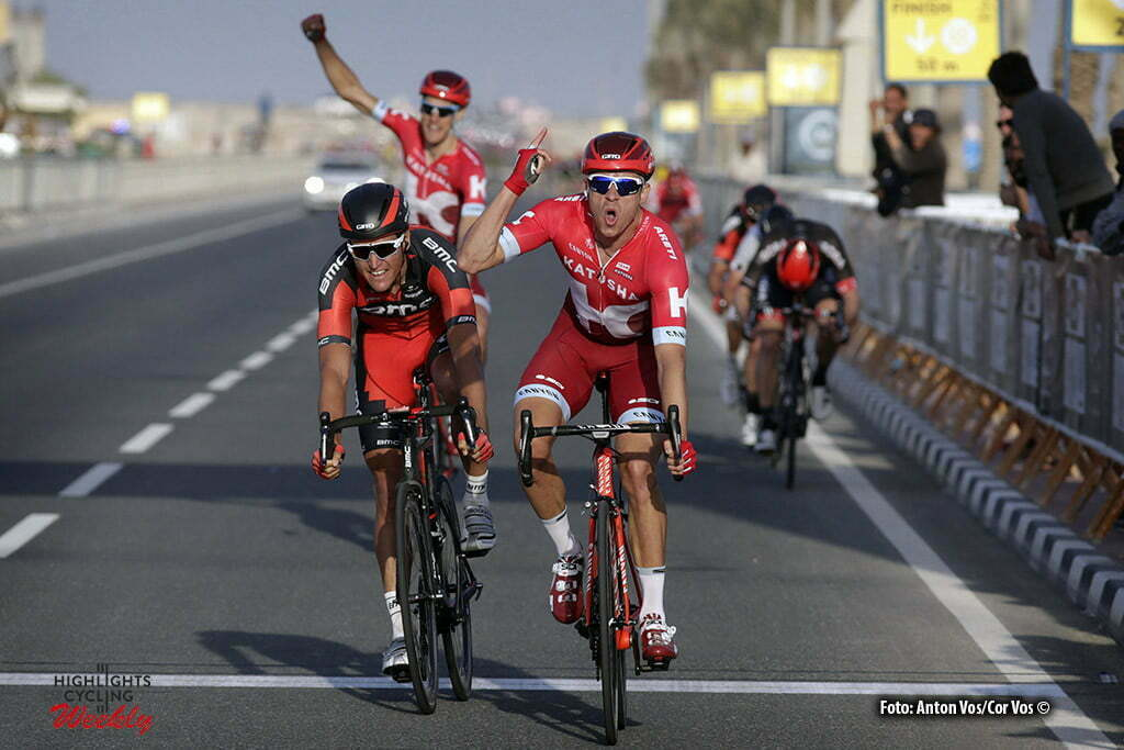 Madinat Al Shamal - Qatar - wielrennen - cycling - radsport - cyclisme - Kristoff Alexander (Norway / Team Katusha) - Van Avermaet Greg (Belgium / BMC Racing Team) pictured during Tour of Qatar Elite - Stage 4 from Al Zubarah to Madinat Al Shamal - photo Anton Vos/Cor Vos © 2016