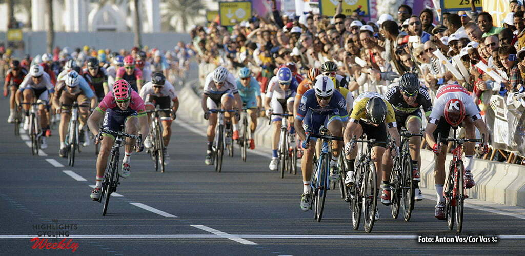 Doha Corniche - Qatar - wielrennen - cycling - radsport - cyclisme - Kristoff Alexander (Norway / Team Katusha) - Cavendish Mark (GBR / Team Dimension Data) - Jans Roy (Belgium / Wanty - Groupe Gobert) pictured during Tour of Qatar Elite - Stage 5 from Sealine Beach Resort to Doha Corniche - photo Anton Vos/Cor Vos © 2016