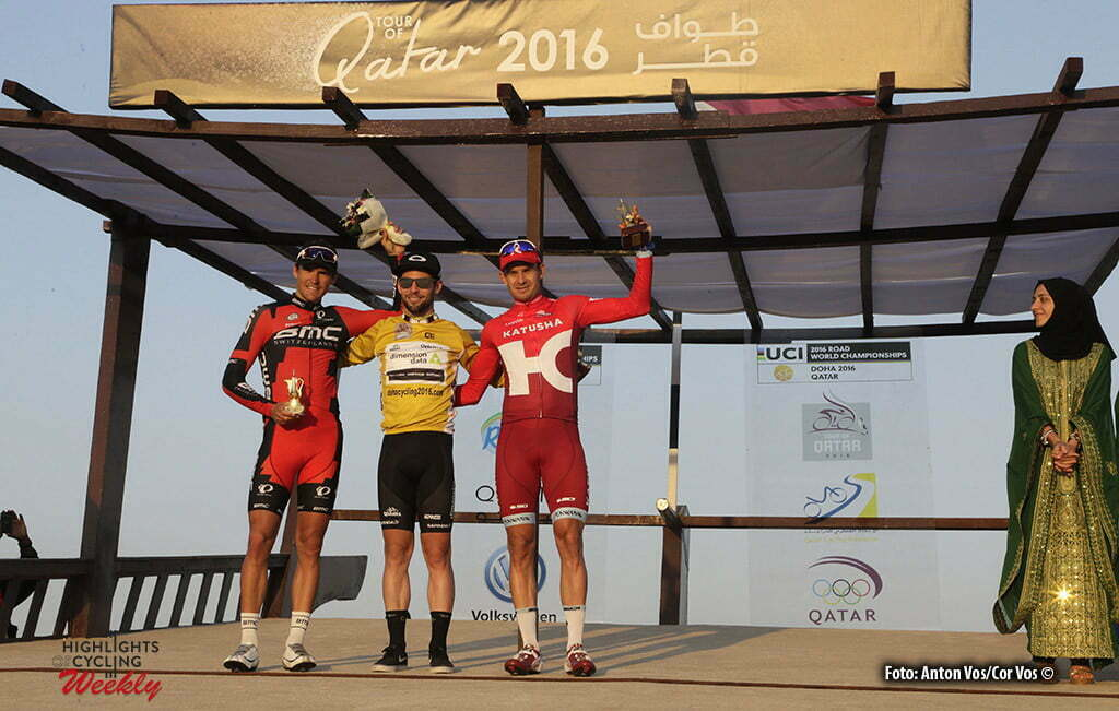 Doha Corniche - Qatar - wielrennen - cycling - radsport - cyclisme - Cavendish Mark (GBR / Team Dimension Data) Kristoff Alexander (Norway / Team Katusha) - Greg Van Avermaet (Belgium / BMC Racing Team) pictured during Tour of Qatar Elite - Stage 5 from Sealine Beach Resort to Doha Corniche - photo Anton Vos/Cor Vos © 2016