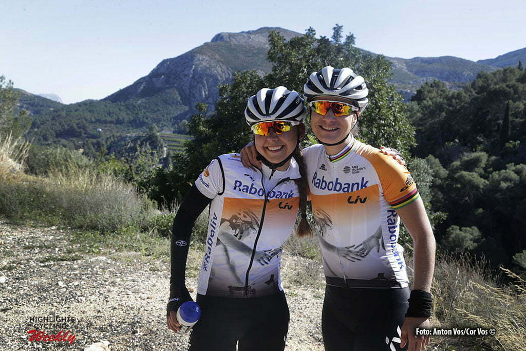 Calpe - Spain - wielrennen - cycling - radsport - cyclisme - Koster Anouska (Netherlands / Rabobank Liv Women Cycling Team) - Vos Marianne (Netherlands / Rabobank Liv Women Cycling Team) pictured during trainingstage team Rabo LIV Women Cycling Team in Calpe, Spain - photo Anton Vos/Cor Vos © 2016