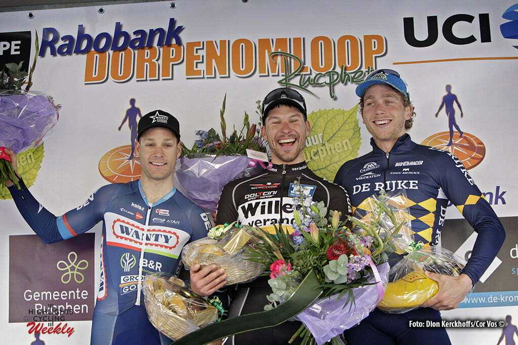 Rucphen - Netherlands - wielrennen - cycling - radsport - cyclisme - Antoine Demoitie (Belgium / Wanty - Groupe Gobert) - Aidis Kuopis (Veranda's Willems) - Coen Vermeltfoort (Join-s - De Rijke) pictured during the Rabobank Dorpenomloop Rucphen a UCI Europe Tour race in Rucphen, the Netherlands - photo Dion Kerckhoffs/Cor Vos © 2016