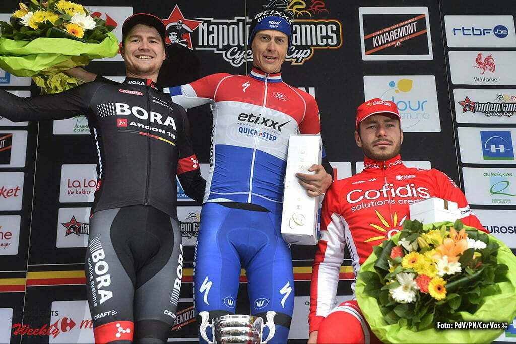 winner TERPSTRA Niki (NED) Rider of ETIXX - QUICK STEP, second THWAITES Scott (GBR) Rider of BORA-ARGON 18 and third SENECHAL Florian (FRA) Rider of COFIDIS, SOLUTIONS CREDITS pictured during the podium ceremony of the Napoleon Games Cycling Cup Le Samyn 2016 cycling race with start in Quaregnon and finish in Dour in Dour, Belgium *** DOUR, BELGIUM - 02/03/2016 Photo by Peter De Voecht/ Photonews ***