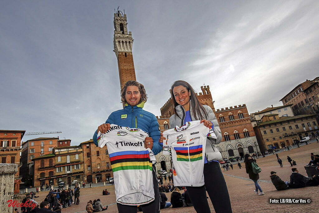Sienna - Italy - wielrennen - cycling - radsport - cyclisme - Peter Sagan (Slowakia / Team Tinkoff - Tinkov) - Elizabeth Lizzie Armitstead (Great Britain / Boels Dolmans Cycling Team) pictured during presseconference the day's before Strade Bianche 2016 - photo Cor Vos © 2016