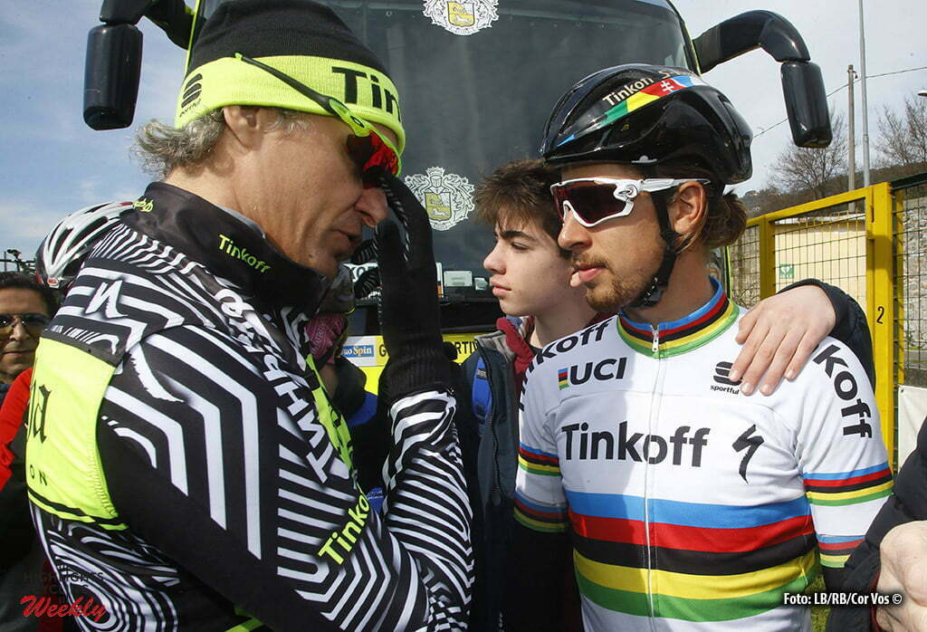 Pomarance - Italia - wielrennen - cycling - radsport - cyclisme - Peter Sagan (Tinkoff) - Oleg Tinkov (Tinkoff) pictured during the 51st Tirreno Adriatico 2016 stage 2 from Camaiore to Pomarance - photo IB/RB/Cor Vos © 2016
