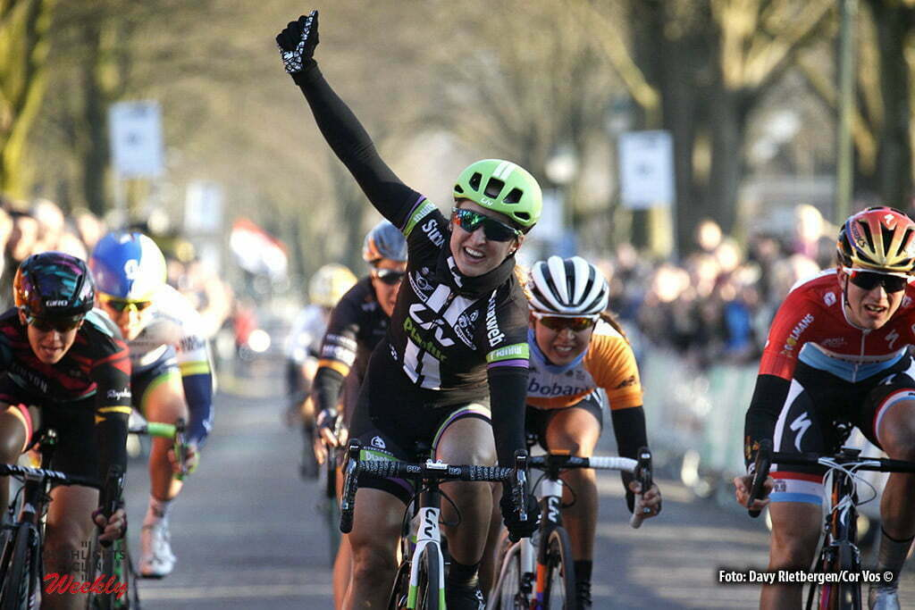Dwingeloo - Netherlands - wielrennen - cycling - radsport - cyclisme - Kirchmann Leah (Canada / Liv - Plantur) - Majerus Christine (Luxembourg / Boels Dolmans Cycling Team) - Cromwell Tiffany (Australia / Canyon Sram Racing) pictured during the Drentse Acht van Westerveld in Dwingeloo - photo Davy Rietbergen/Cor Vos © 2016