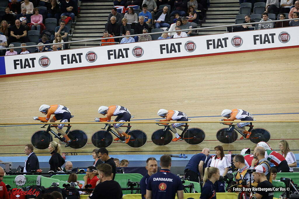 London - Great Brittain - wielrennen - cycling - radsport - cyclisme - Men's Team Persuit - Dion Beukenboom - Roy Eefting - Wim Stroetinga - Jan Willem van Schip pictured during Worldchampionships Track 2016 in London (GBR) - photo Davy Rietbergen/Cor Vos © 2016