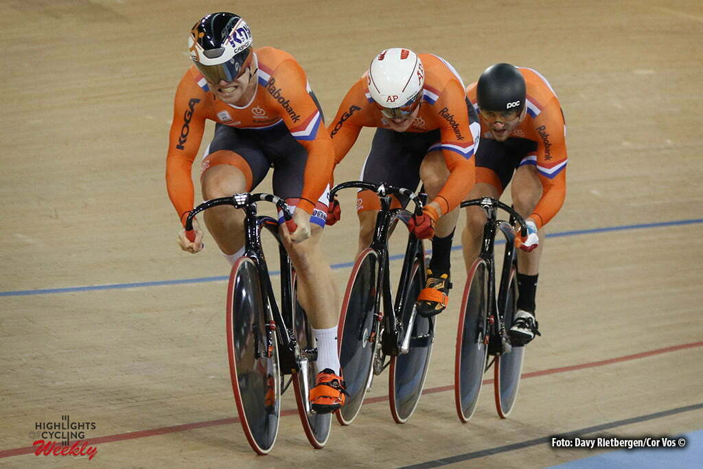 London - Great Brittain - wielrennen - cycling - radsport - cyclisme - Men's Team Sprint - Nils van 't Hoenderdaal - Jeffrey Hoogland - Hugo Haak pictured during Worldchampionships Track 2016 in London (GBR) - photo Davy Rietbergen/Cor Vos © 2016