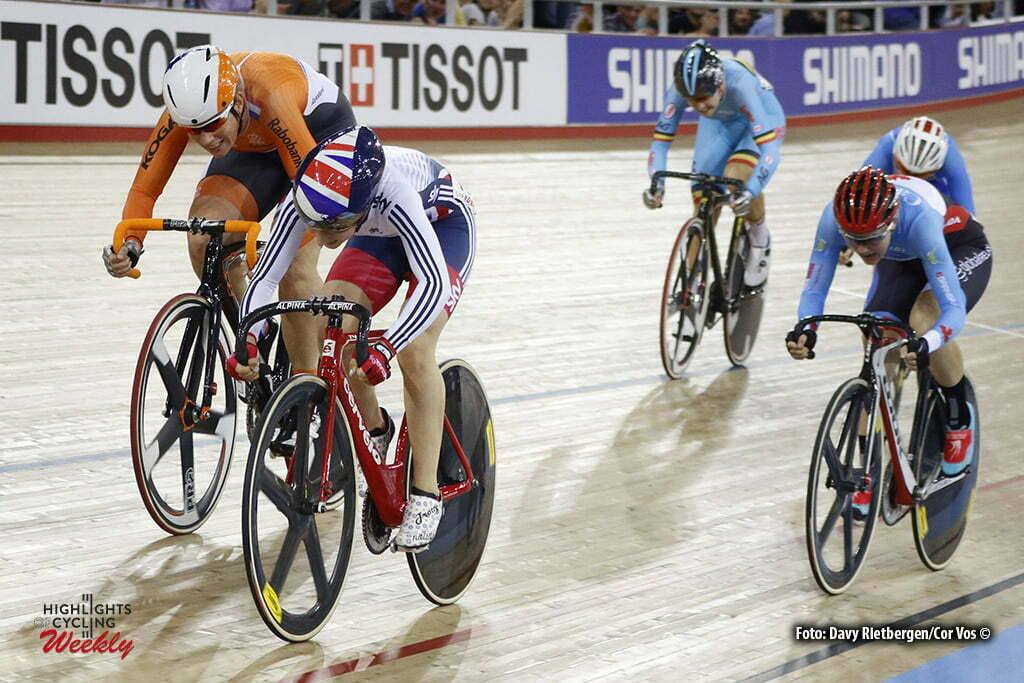 London - Great Brittain - wielrennen - cycling - radsport - cyclisme -Women's Scratch - Kirsten Wild - Laura Trott pictured during Worldchampionships Track 2016 in London (GBR) - photo Davy Rietbergen/Cor Vos © 2016
