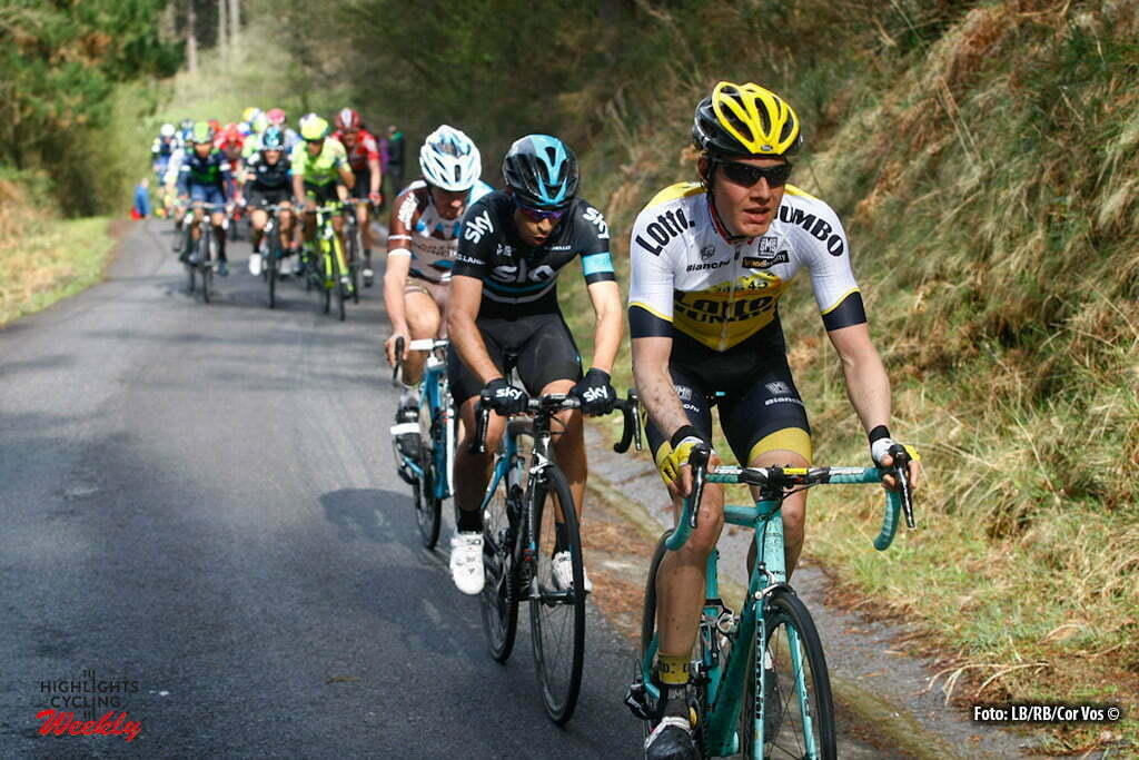 Garrastatxu - Spain - wielrennen - cycling - radsport - cyclisme - Mikel Landa (Team Sky) - Wilco Kelderman (Netherlands / Team LottoNL - Jumbo) pictured during Vuelta Ciclista al Pais Vasco 2016 (2.UWT) stage 2 from Markina-Xemein to Garrastatxu - photo LB/RB/Cor Vos © 2016