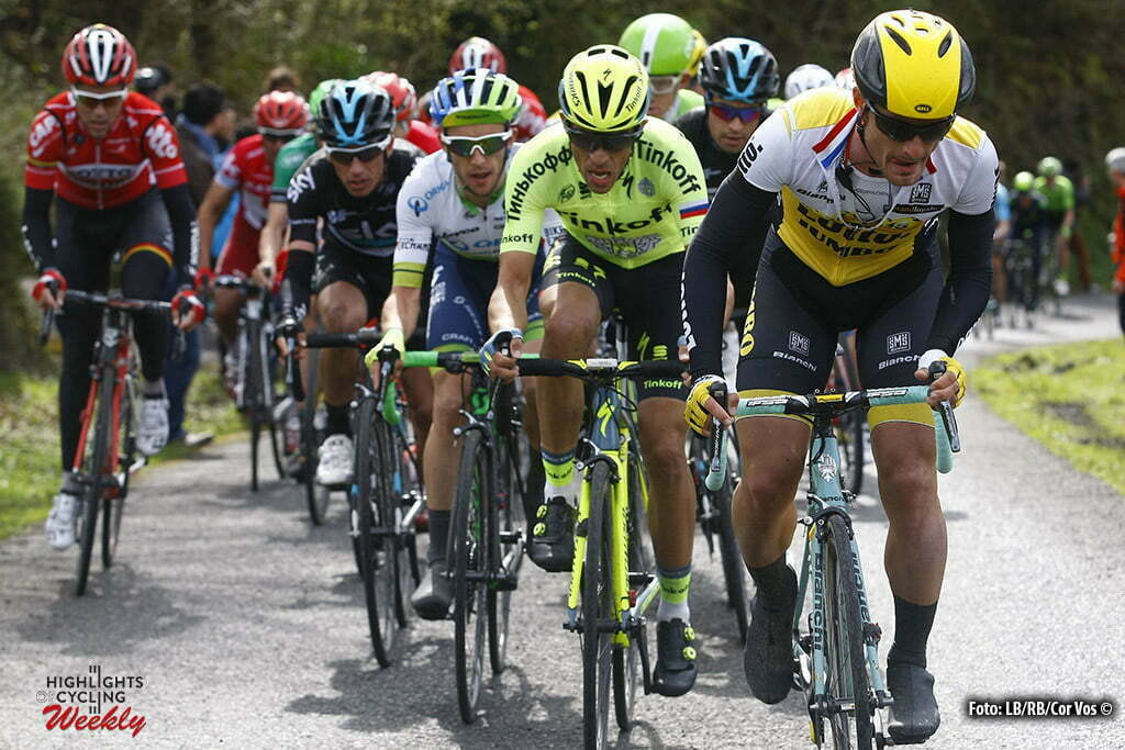 Garrastatxu - Spain - wielrennen - cycling - radsport - cyclisme - Battaglin Enrico (Italie / Team LottoNL - Jumbo) - Alberto Contador (Tinkoff) pictured during Vuelta Ciclista al Pais Vasco 2016 (2.UWT) stage 2 from Markina-Xemein to Garrastatxu - photo LB/RB/Cor Vos © 2016