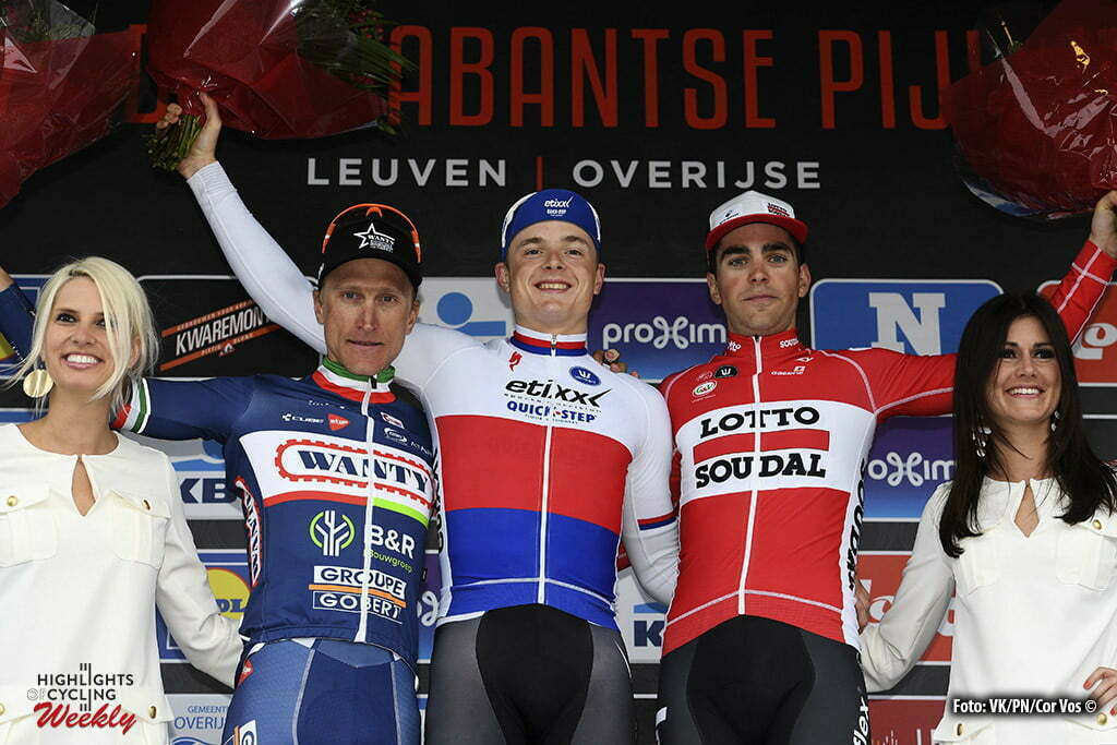 Overijse - Belgium - wielrennen - cycling - radsport - cyclisme - Gasparotto Enrico (Italy / Wanty - Groupe Gobert) - Vakoc Petr (Czech Republic / Team Etixx - Quick Step) - Gallopin Tony (France / Team Lotto Soudal) pictured during the 56th Brabantse Pijl cycling race with start in Leuven and finish in Overijse (205 Km) on April 13, 2016 in Overijse , Belgium - photo VK/PN/Cor Vos © 2016