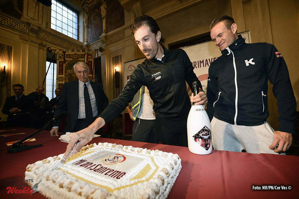 Milano - Italy - wielrennen - cycling - radsport - cyclisme - Fabian Cancellara (Suisse / Trek Factory Racing) celebrates his birthday and cutting a birthday cake after a press conference - right Alexander Kristoff (Norway / Team Katusha) - Palazzo Marino in Milan, Italy - photo NV/PN/Cor Vos © 2016