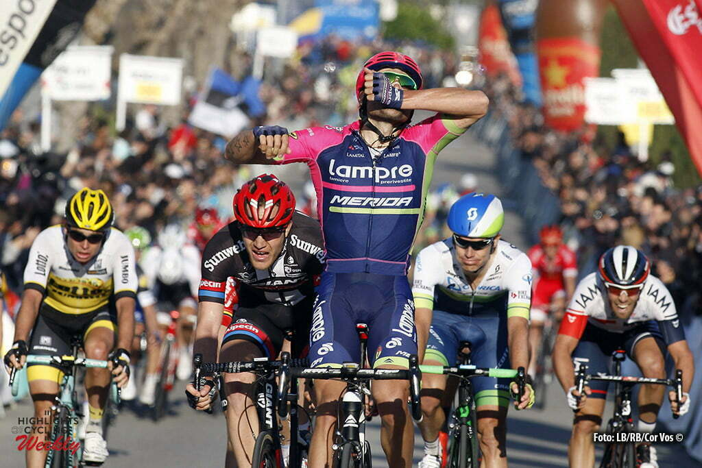 Vilanova i la Geltru - Spain - wielrennen - cycling - radsport - cyclisme - Davide Cimolai (Lampre - Merida) - Nikias Arndt (Team Giant - Alpecin) - Tosh Van Der Sande (Team Lotto Soudal) - Bertjan Lindeman (Team LottoNL - Jumbo) pictured during stage 6 of the Volta a Catalunya 2016 from Sant Joan Despi to Vilanova i la Geltru 197.2 km - 26/03/2016 - photo LB/RB/Cor Vos © 2016