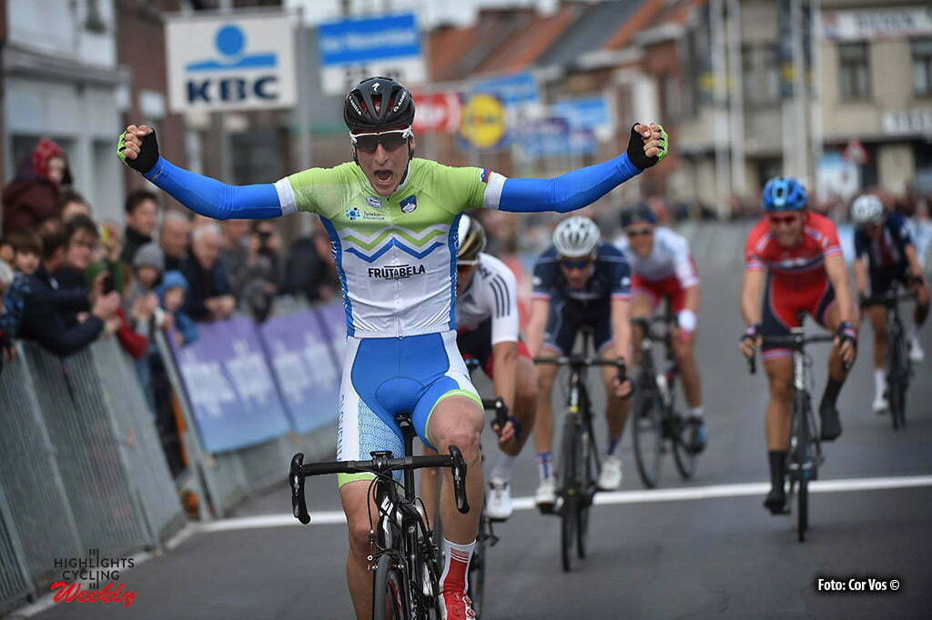 Oudenaarde - Belgium - wielrennen - cycling - radsport - cyclisme - Davis Per (Slovenia) celebrates his win pictured during Tour of Flanders under 23 - photo Cor Vos © 2016