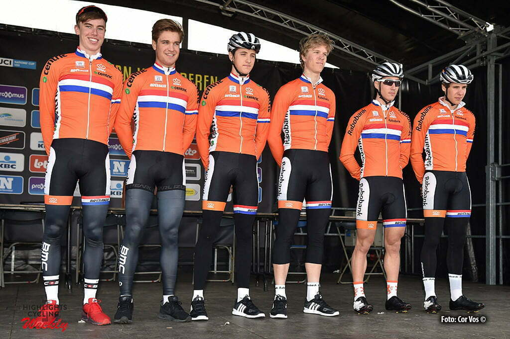 Oudenaarde - Belgium - wielrennen - cycling - radsport - cyclisme - vlnr. Pascal Eenkhoorn - Bram Welten - Jan Maas - Cees Bol - Mitchell Cornelisse - Peter Lenderink pictured during Tour of Flanders under 23 - photo Cor Vos © 2016