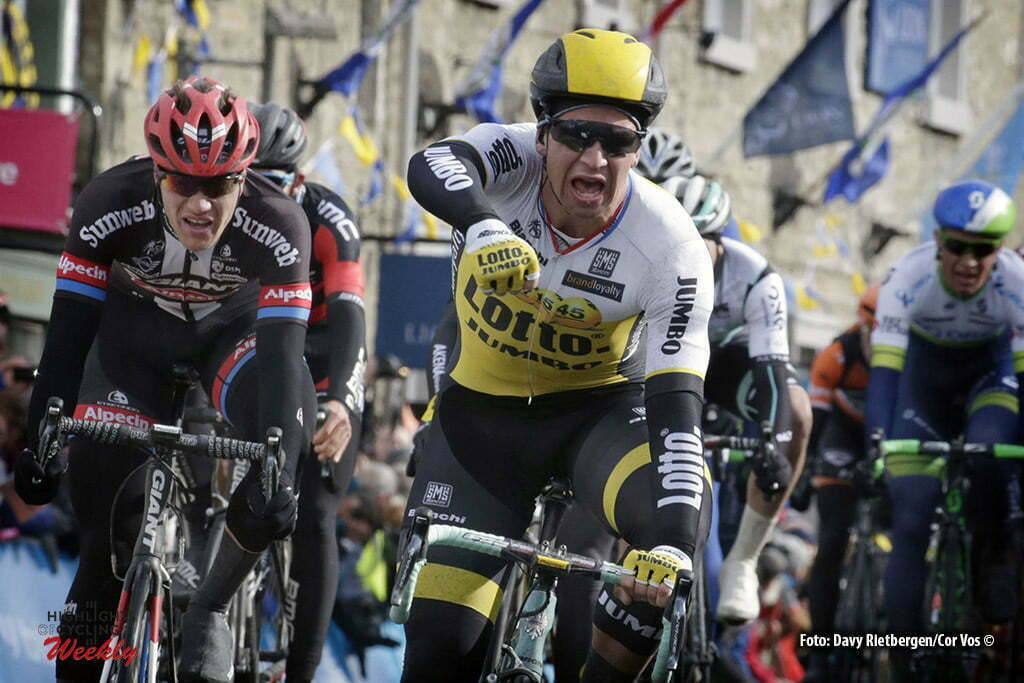 Settle - Great Britain - wielrennen - cycling - radsport - cyclisme - Dylan Groenewegen (Netherlands / Team LottoNL - Jumbo) - Nikias Arndt (Germany / Team Giant - Alpecin) pictured during stage 1 of the Tour of Yorkshire - from Beverley to Settle in Yorkshire, England - photo Davy Rietbergen/Cor Vos © 2016