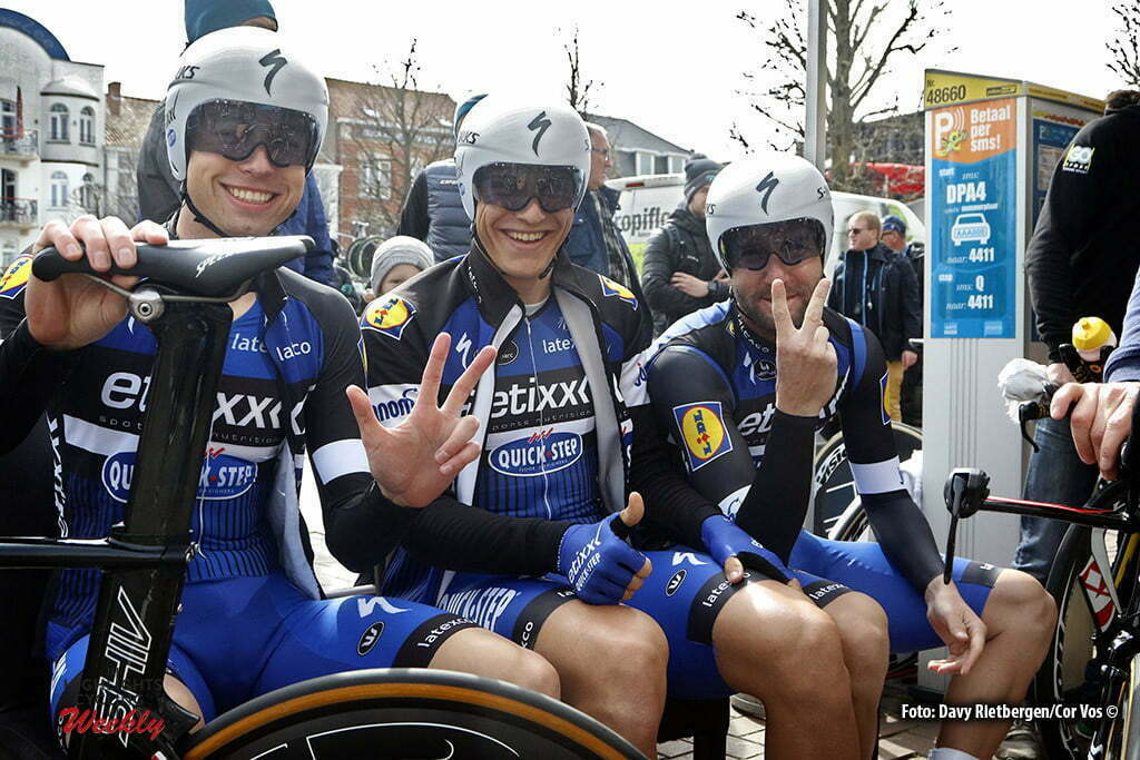 De Panne - Belgium - wielrennen - cycling - radsport - cyclisme - Wisniowski Lukasz (Poland / Team Etixx - Quick Step) - Marcel Kittel (Germany / Team Etixx - Quick Step) - Sabatini Fabio (Italie / Team Etixx - Quick Step) pictured during Driedaagse De Panne Koksijde 2016 - Stage 3b - from De Panne to De Panne ITT Time trial individual - photo Davy Rietbergen/Cor Vos © 2016