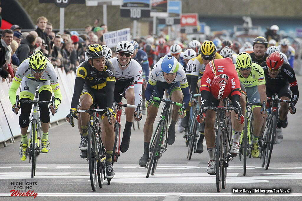 Waregem - Belgium - wielrennen - cycling - radsport - cyclisme - Coquard Brian (France / Direct Energie) - Debusschere Jens (Belgium / Team Lotto Soudal) pictured during 71e Dwars door Vlaanderen Men Elite - photo Davy Rietbergen/Cor Vos © 2016