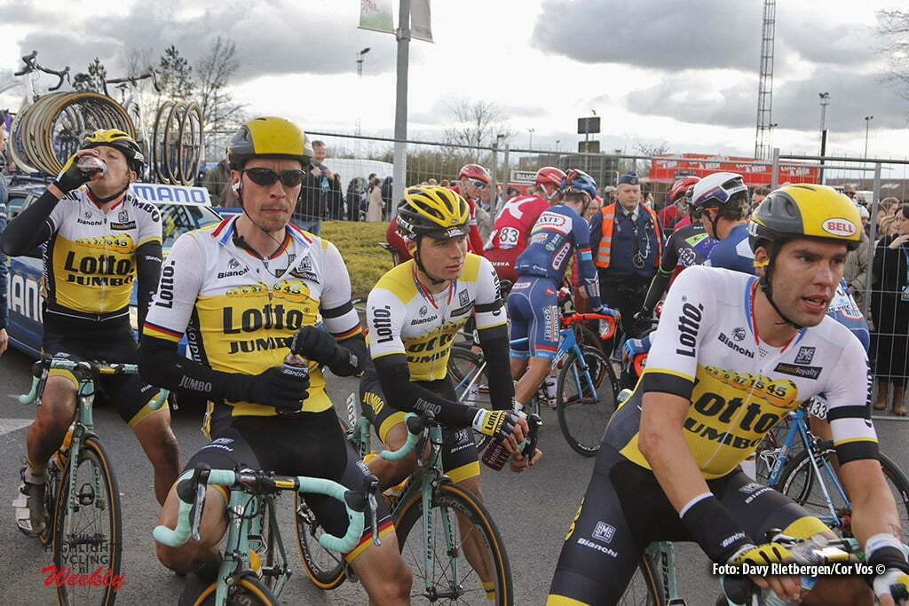 Waregem - Belgium - wielrennen - cycling - radsport - cyclisme - Twan Castelijns (Netherlands / Team Lotto Nl - Jumbo) - Robert Wagner (Germany / Team Lotto Nl - Jumbo) - Moreno Hofland (Netherlands / Team Lotto Nl - Jumbo) - Maarten Wynants (Belgium / Team Lotto Nl - Jumbo) pictured during 71e Dwars door Vlaanderen Men Elite - photo Davy Rietbergen/Cor Vos © 2016