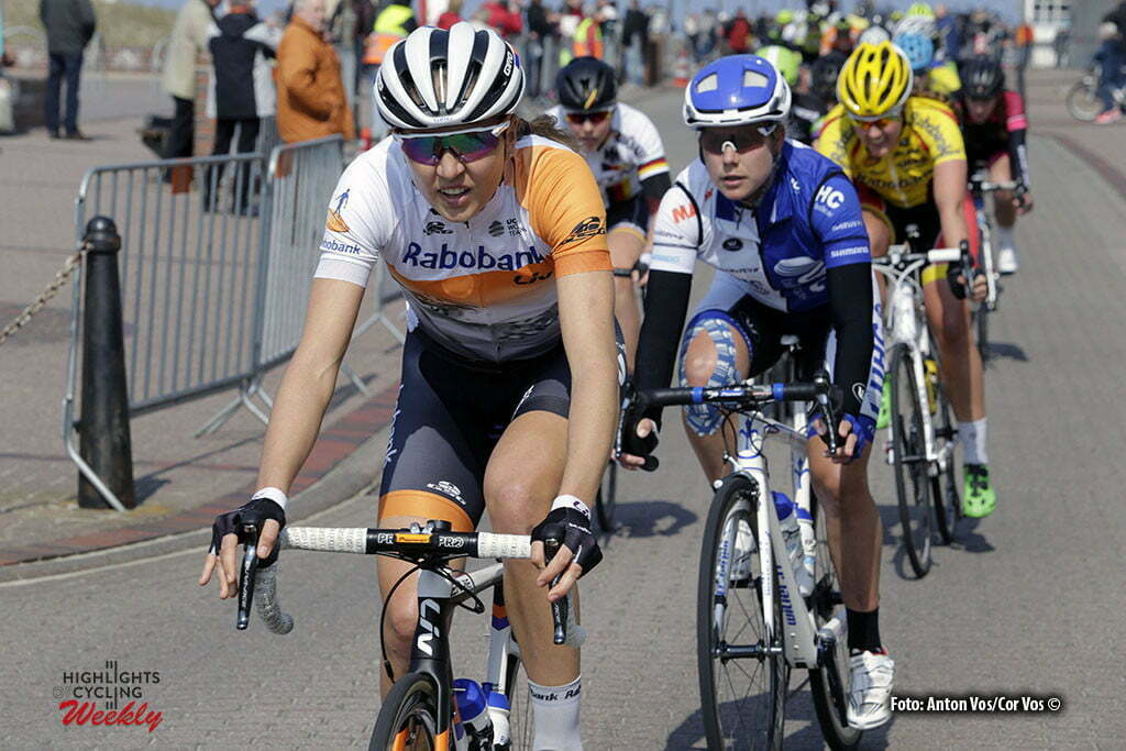 Borkum - Netherlands - wielrennen - cycling - radsport - cyclisme - Gillow Shara (Australia / Rabobank Liv Women Cycling Team) Villumsen Linda Melanie (New Zealand / UnitedHealthCare) pictured during stage 5 of the Energiewacht Tour 2016 - cyclingrace for women from Borkum to Borkum - photo Anton Vos/Cor Vos © 2016