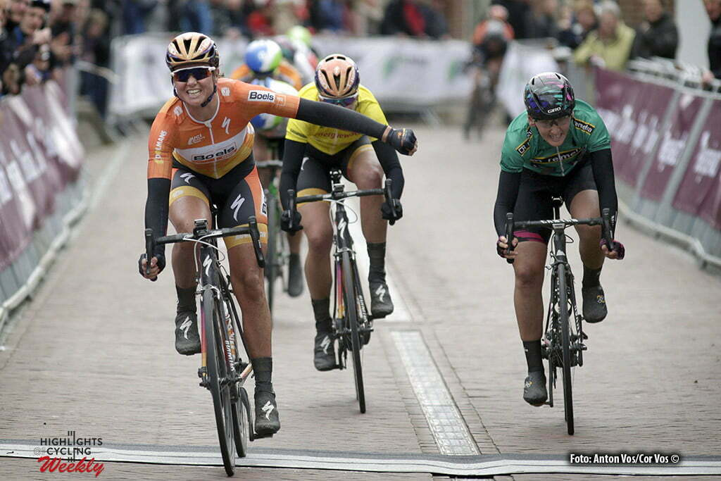 Winsum - Netherlands - wielrennen - cycling - radsport - cyclisme - Blaak Chantal (Netherlands / Boels Dolmans Cycling Team) - Van Dijk Ellen (Netherlands / Boels Dolmans Cycling Team) Brennauer Lisa (Germany / Canyon Sram Racing) pictured during stage 2 of the Energiewacht Tour 2016 - cyclingrace for women from Winsum to Winsum - photo Anton Vos/Cor Vos © 2016