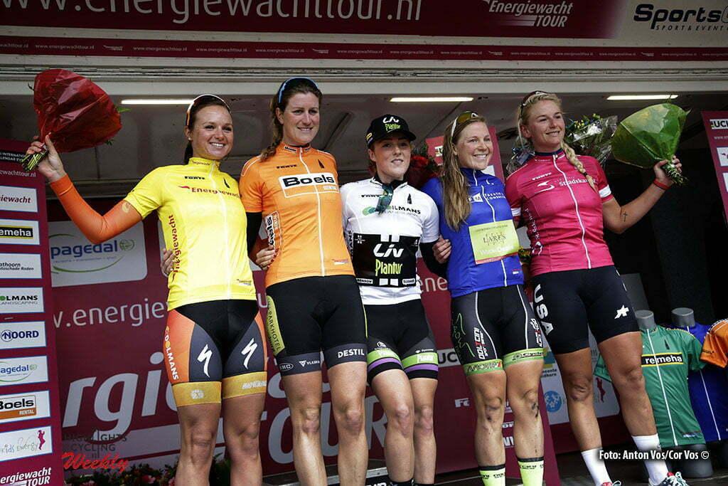 Stadskanaal - Netherlands - wielrennen - cycling - radsport - cyclisme - Blaak Chantal (Netherlands / Boels Dolmans Cycling Team) - Koedooder Vera (Netherlands / Parkhotel Valkenburg) - Mackaij Floortje (Netherlands / Liv - Plantur) - Sara Penton Lares - Waowdeals Women Cycling Team - Dragoo Allie (USA / Twenty 16 Bikerider) pictured during stage 3 of the Energiewacht Tour 2016 - cyclingrace for women from Musselkanaal to Stadskanaal - photo Anton Vos/Cor Vos © 2016