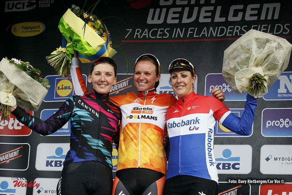 Wevelgem- Belgium - wielrennen - cycling - radsport - cyclisme - Lisa Brennauer (Germany / Canyon Sram Racing) - Chantal Blaak (Netherlands / Boels Dolmans Cycling Team) - Lucinda Brand (Netherlands / Rabobank Liv Women Cycling Team) pictured during Gent - Wevelgem 2016 World Tour women - photo Davy Rietbergen/Cor Vos © 2016