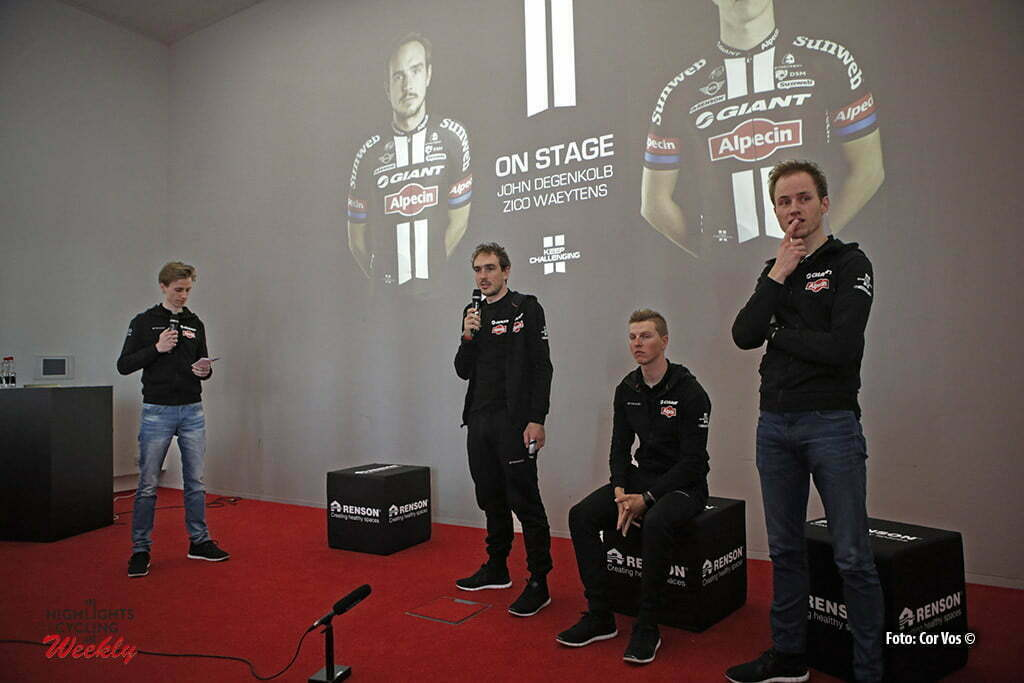 Waregem - Belgium - wielrennen - cycling - radsport - cyclisme - Peter Reef (Netherlands / Public Relations Team Giant - Alpecin) - John Degenkolb (Germany / Team Giant - Alpecin) - Zico Waeytens (Belgium / Team Giant - Alpecin) - Marc Reef (Netherlands / Sportdirector Team Giant - Alpecin) pictured during a press conference about his injuries of his crash in the beginning of the saison at the RENSON offices in Waregem, Belgium - photo Cor Vos © 2016