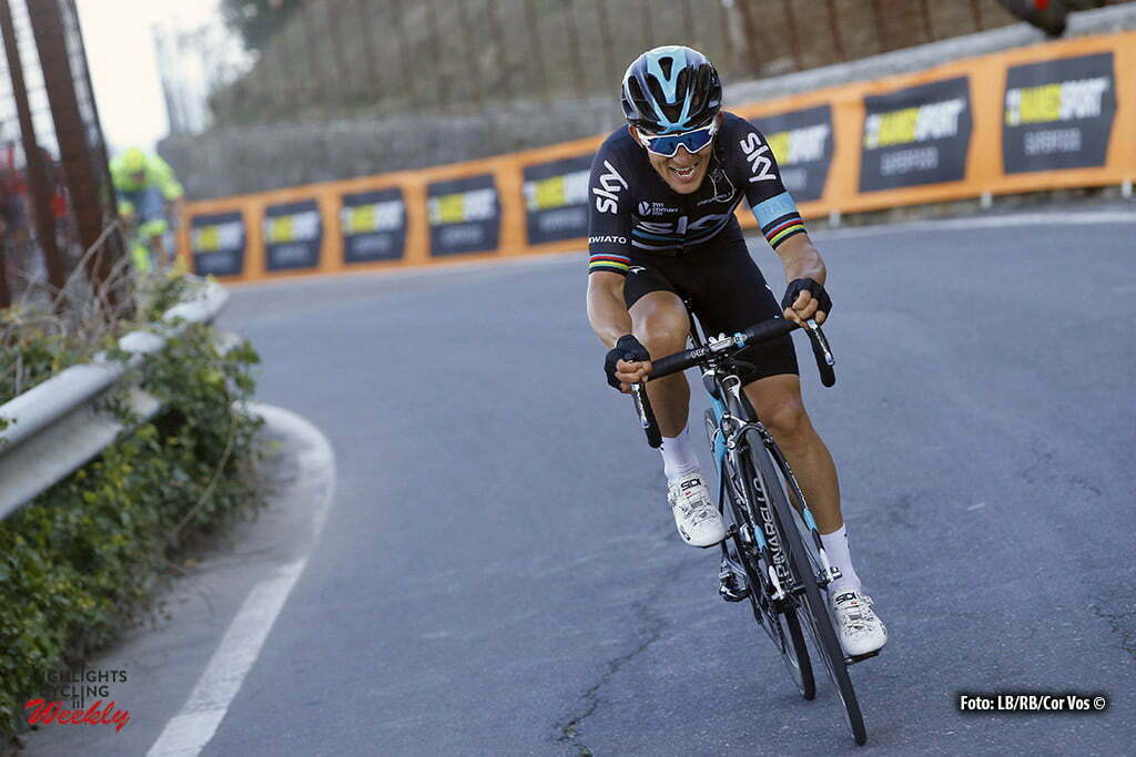 Sanremo - Italy - wielrennen - cycling - radsport - cyclisme - Michal Kwiatkowski (Team Sky) on Poggio climb pictured during Milano - Sanremo World Tour cycling race - photo LB/RB/Cor Vos © 2016