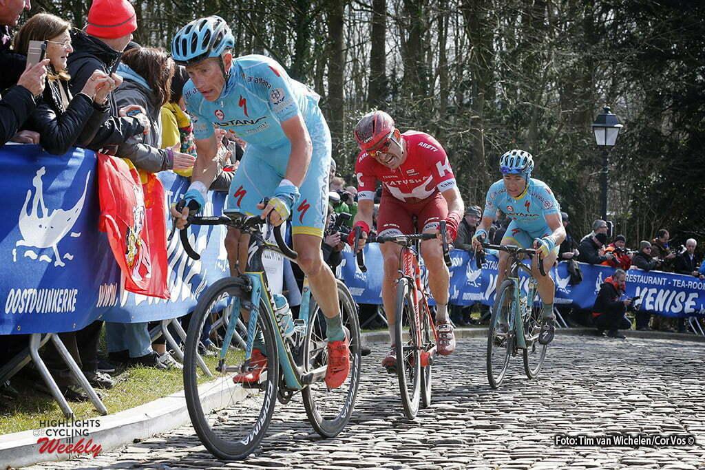 De Panne- Belgium - wielrennen - cycling - radsport - cyclisme - Muur van Geraardsbergen - Lieuwe Westra (Netherlands / Team Astana) - Alexander Kristoff (Norway / Team Katusha) - Alexey Lutsenko (Kasachstan / Team Astana) pictured during Driedaagse De Panne Koksijde 2016 - Stage 1 - from De Panne to Zottegem - photo Tim Van Wichelen/Cor Vos © 2016