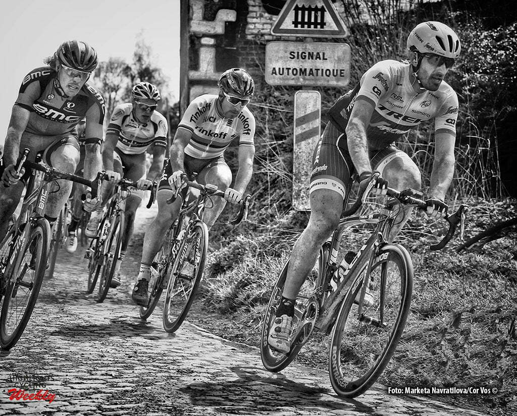 Roubaix - France - wielrennen - cycling - radsport - cyclisme - Fabian Cancellara (Suisse / Trek Factory Racing) - Peter Sagan (Slowakia / Team Tinkoff - Tinkov) - Daniel Oss (Italie / BMC Racing Team) pictured during Paris - Roubaix 2016 World Tour Cycling race - photo Marketa/Navratilova/Cor Vos © 2015