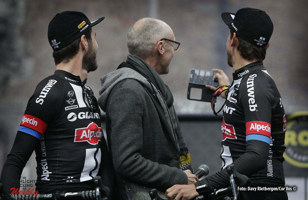 Oudenaarde - Belgium - wielrennen - cycling - radsport - cyclisme - Selfie Roy Curvers (Netherlands / Team Giant - Alpecin) - VRT moderator Michel Wuyts and Koen De Kort (Netherlands / Team Giant - Alpecin) pictured during 100th Ronde van Vlaanderen - Tour de Flanders - from Brugge to Oudenaarde - photo Dion Kerckhoffs/Cor Vos © 2016