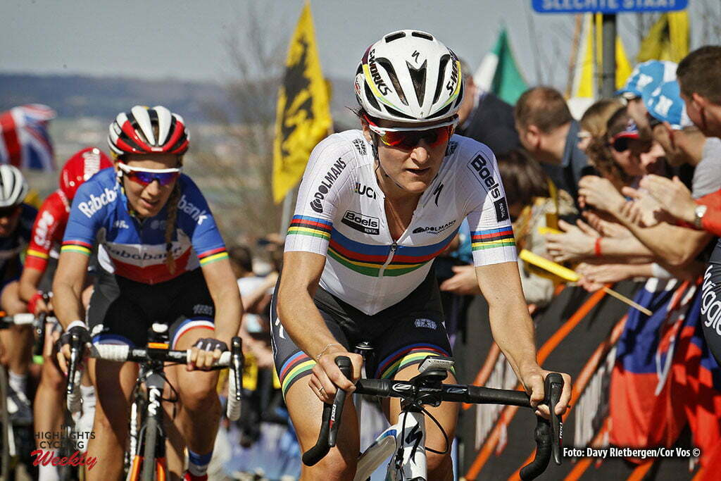 Oudenaarde - Belgium - wielrennen - cycling - radsport - cyclisme - Elizabeth Lizzie Armitstead (Great Britain / Boels Dolmans Cycling Team) - Pauline Ferrand Prevot (France / Rabobank Liv Women Cycling Team) pictured during the women Ronde van Vlaanderen - Tour de Flanders - from Oudenaarde to Oudenaarde - WT - world Tour photo Davy Rietbergen/Cor Vos © 2016