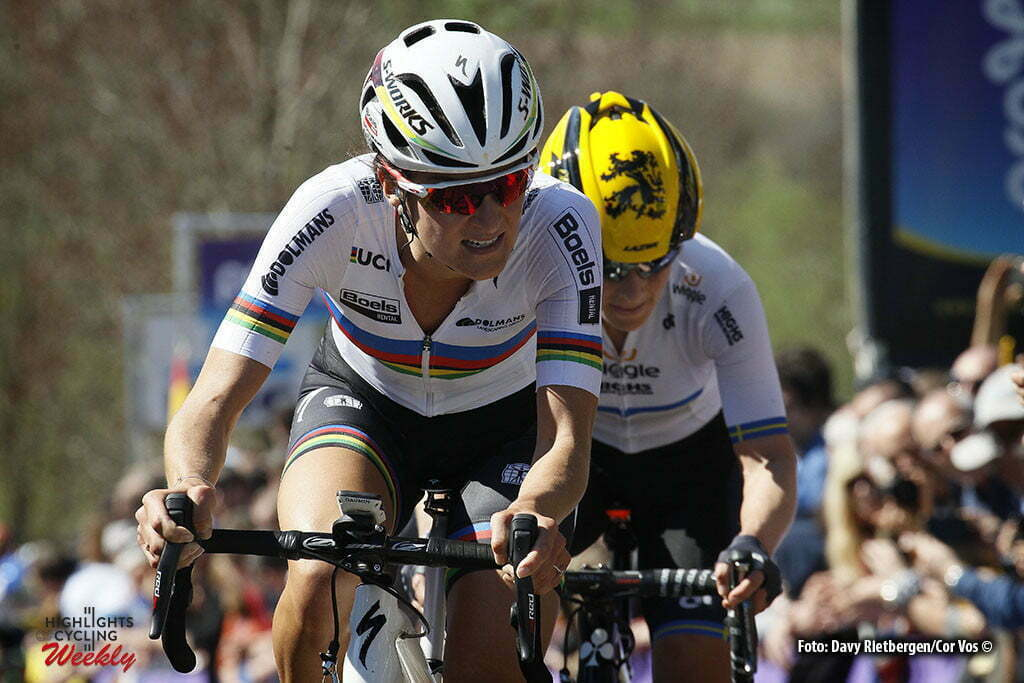 Oudenaarde - Belgium - wielrennen - cycling - radsport - cyclisme - Elizabeth Lizzie Armitstead (Great Britain / Boels Dolmans Cycling Team) - Johansson Emma (Sweden / Wiggle High5) pictured during the women Ronde van Vlaanderen - Tour de Flanders - from Oudenaarde to Oudenaarde - WT - world Tour photo Davy Rietbergen/Cor Vos © 2016