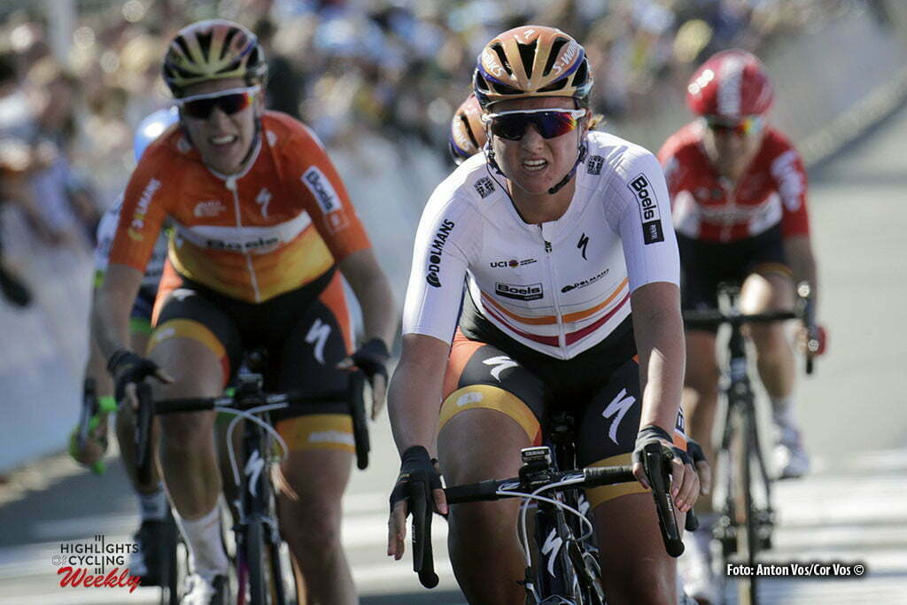 Oudenaarde - Belgium - wielrennen - cycling - radsport - cyclisme - Chantal Blaak (Netherlands / Boels Dolmans Cycling Team) - Ellen Van Dijk (Netherlands / Boels Dolmans Cycling Team) pictured during the women Ronde van Vlaanderen - Tour de Flanders - from Oudenaarde to Oudenaarde - WT - world Tour photo Anton Vos/Cor Vos © 2016